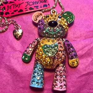 Betsey Johnson colorful teddy bear necklace